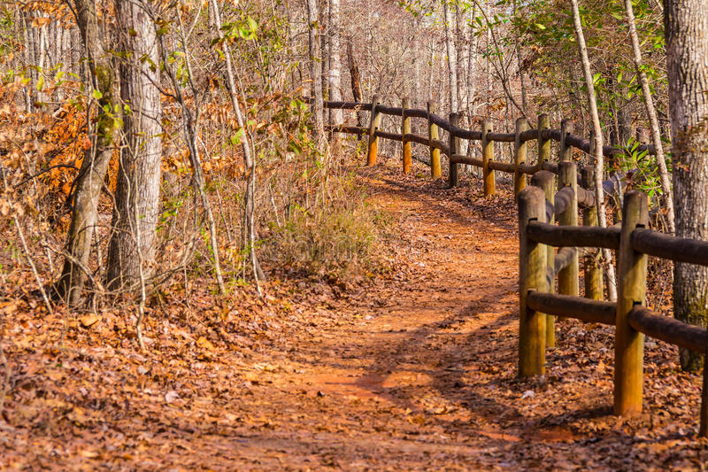 Footpath and thicket in Providence Canyon State Park, Georgia, USA. The footpath with fence and thicket in the Providence Canyon State Park in sunny autumn day royalty free stock images