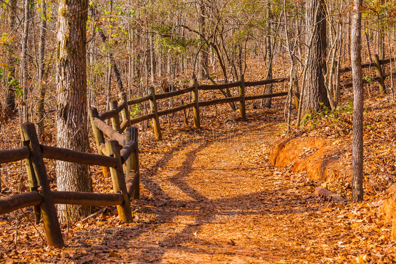 Footpath and thicket in Providence Canyon State Park, Georgia, USA. The footpath with fence and thicket in the Providence Canyon State Park in sunny autumn day stock photo