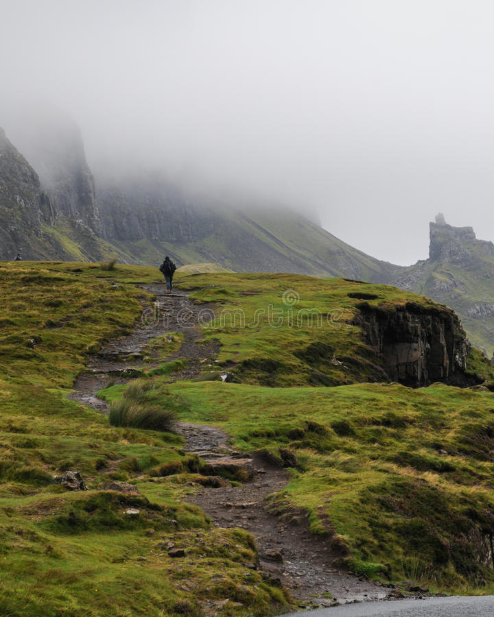 Footpath to the Quiraing mountain, Isle of Skye stock images