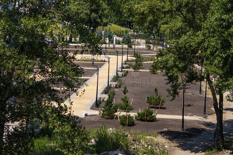 Footpath w jawnym miasto parku zdjęcia royalty free