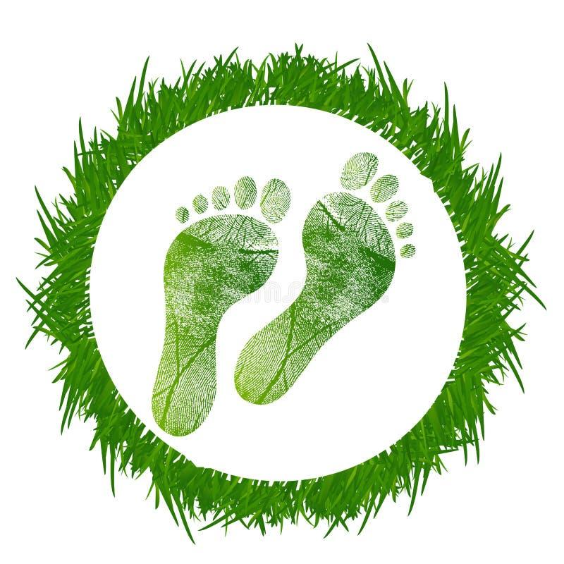 Footprint around grass stock illustration