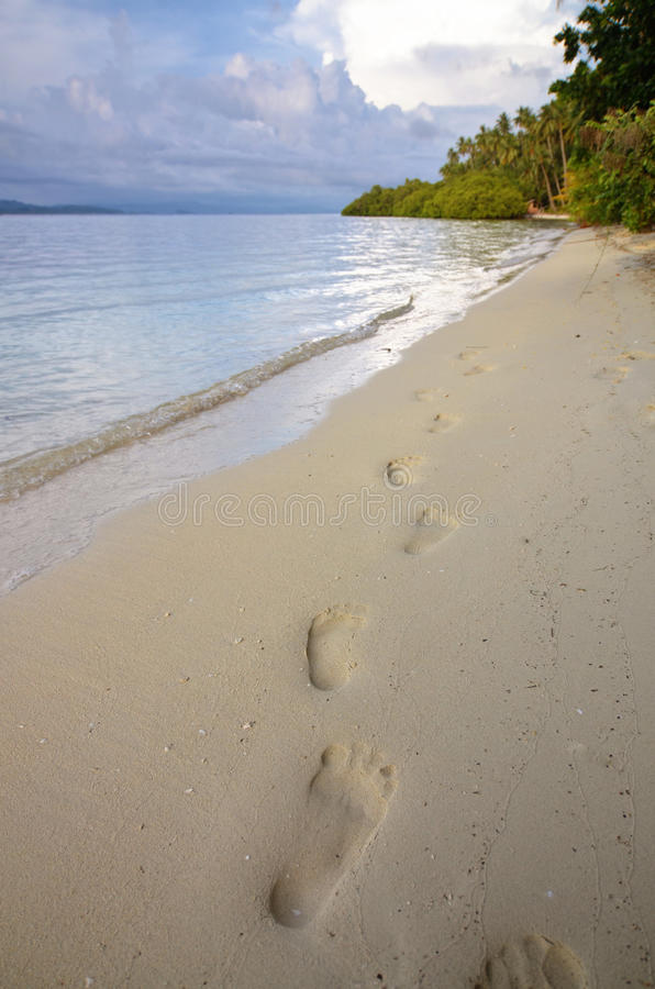 Footprint On The Beach Royalty Free Stock Images