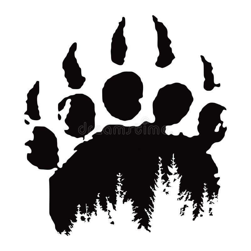 Footprint, bear paw print vector illustration