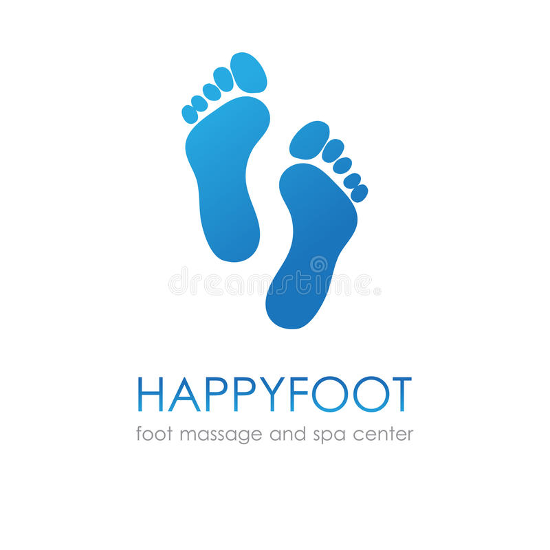 Footprint in blue colors. Foot logo fot healthcare, medical company, osteopath and massage center, spa and beauty salon stock illustration