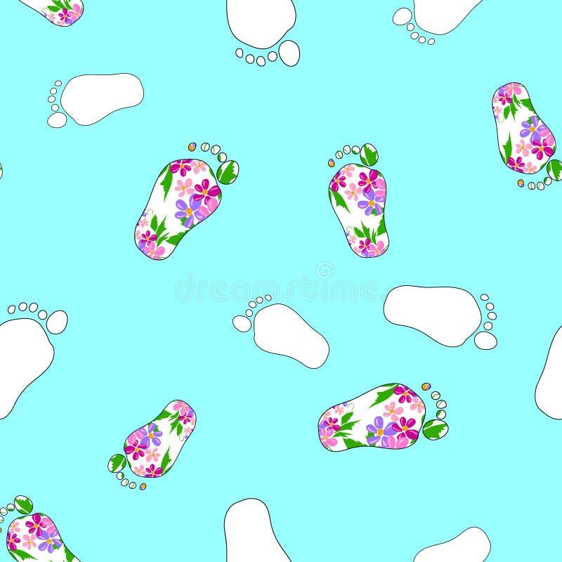 Footprint_colorful_seamless_pattern_3 免版税图库摄影