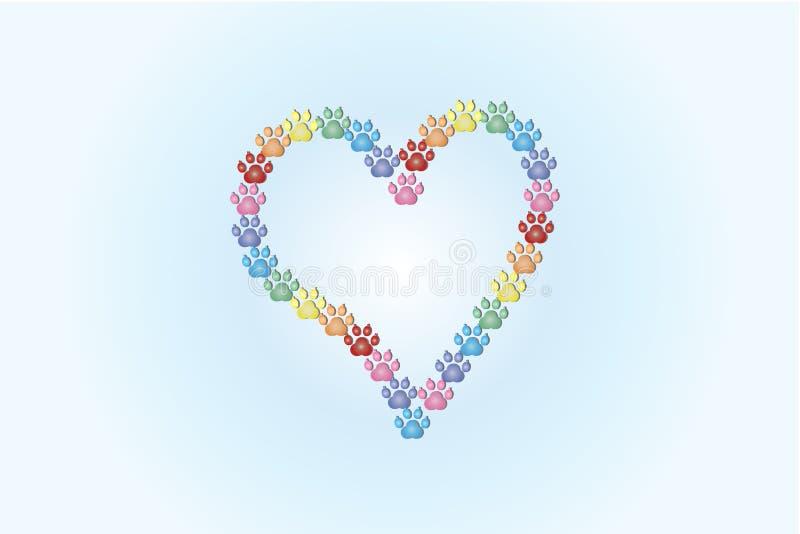 Footprint dog making a love heart logo. Image vector graphic design template vector illustration