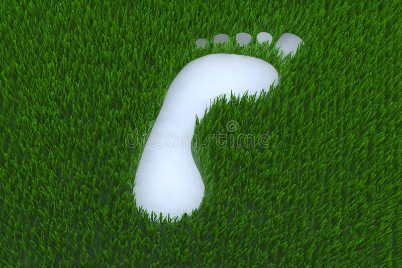 Footprint on grass. 3d illustration royalty free illustration