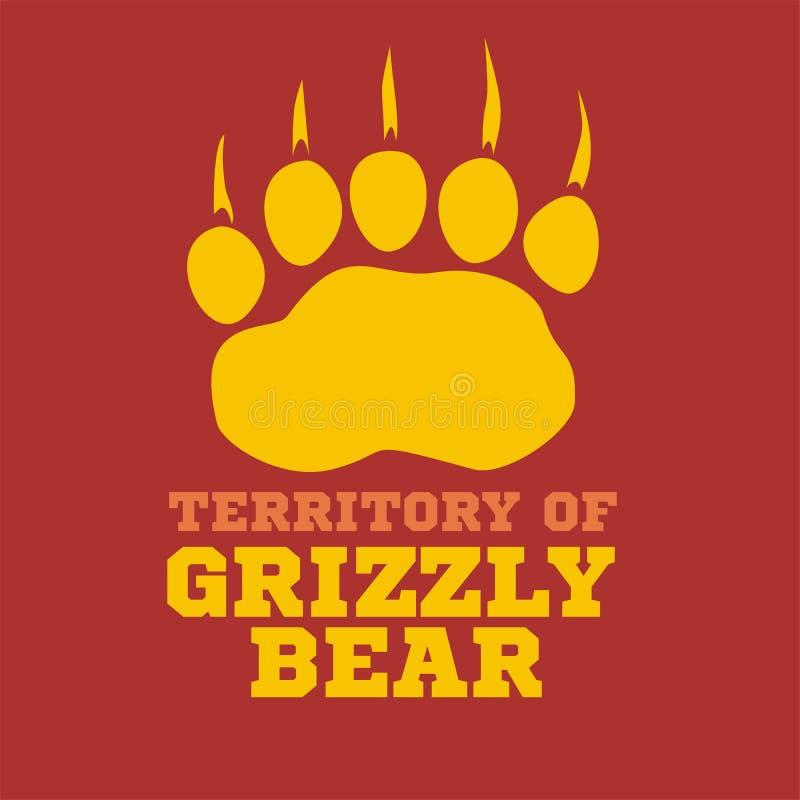 Footprint grizzly bear - vector illustration royalty free stock photos