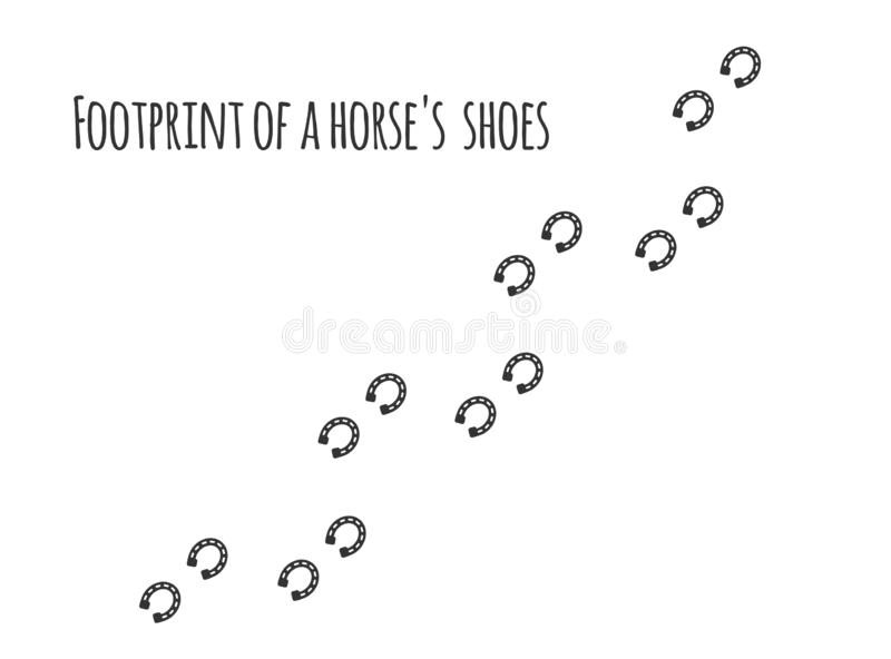 Paw prints.Footprint of a horse`s shoes stock illustration