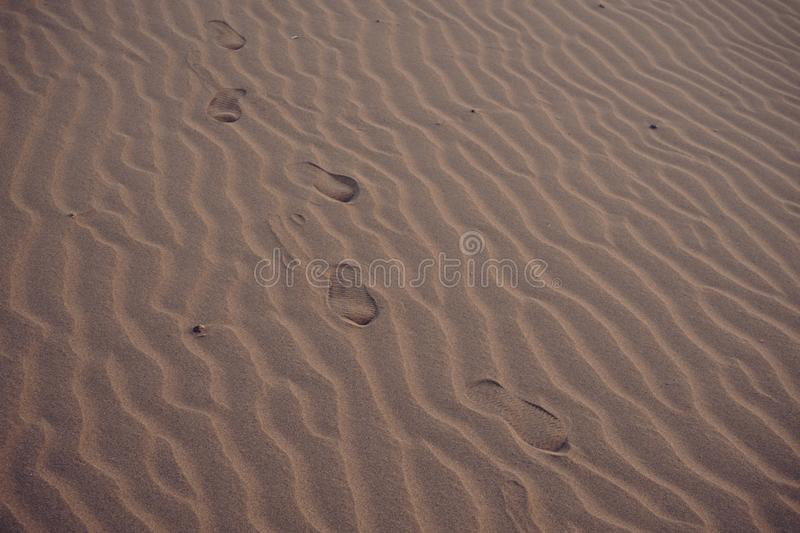Footprint of lonely people on sand at desert. Copy space footprints shoe mark beach dry journey trip travel lost lose alone walk walking path step texture royalty free stock image