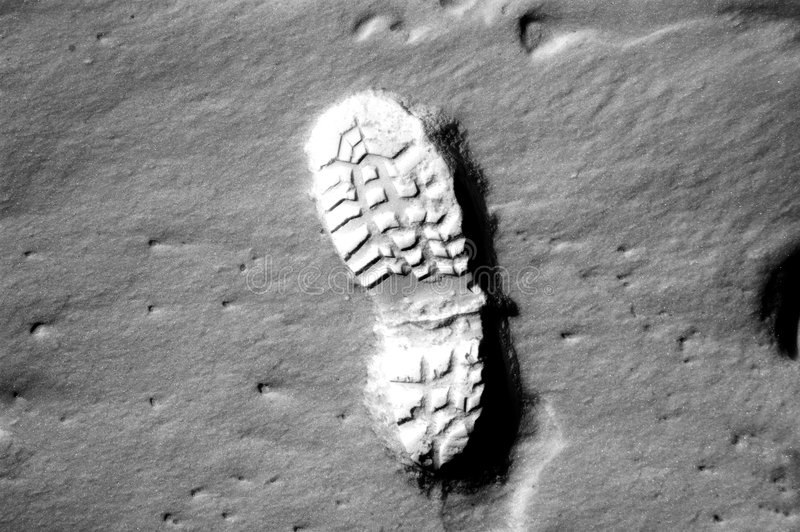 Footprint on moon royalty free stock photography