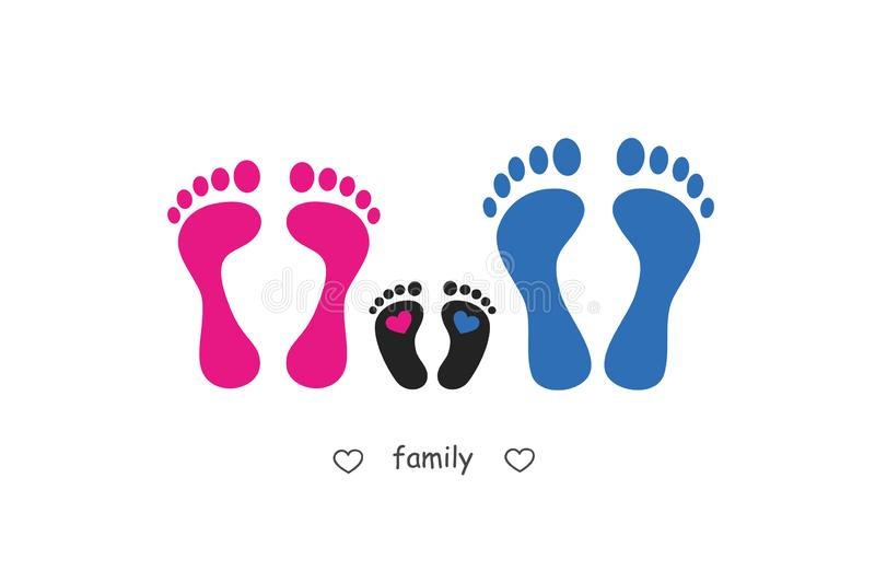Footprint mother baby and father royalty free illustration