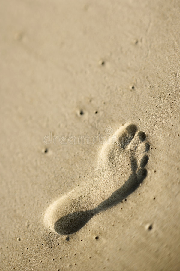 Footprint in sand. stock photography