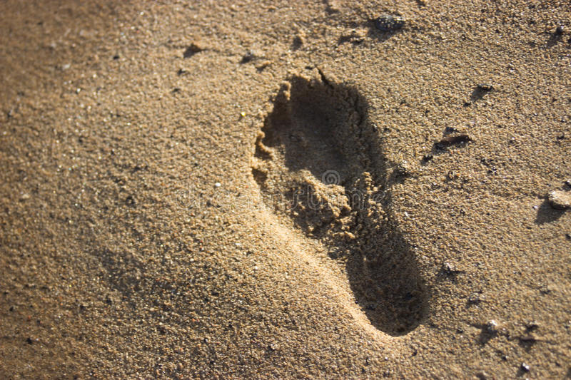 Footprint in sand royalty free stock images
