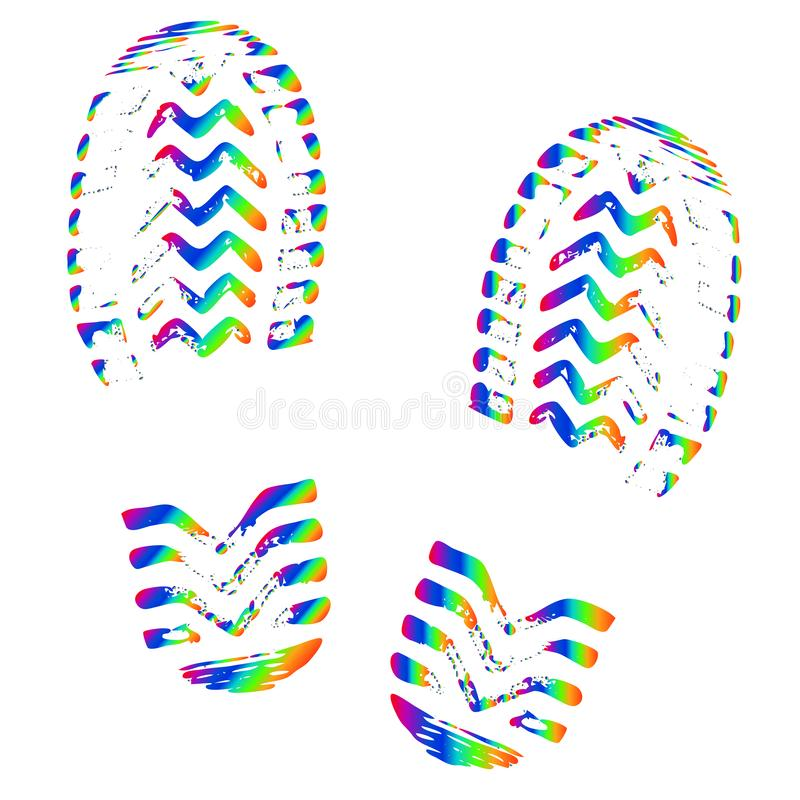 Footprint of shoes, isolated silhouette vector. Trace sole imprint stock illustration