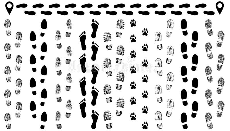Footprint of shoes on the road, isolated set silhouette vector. stock illustration