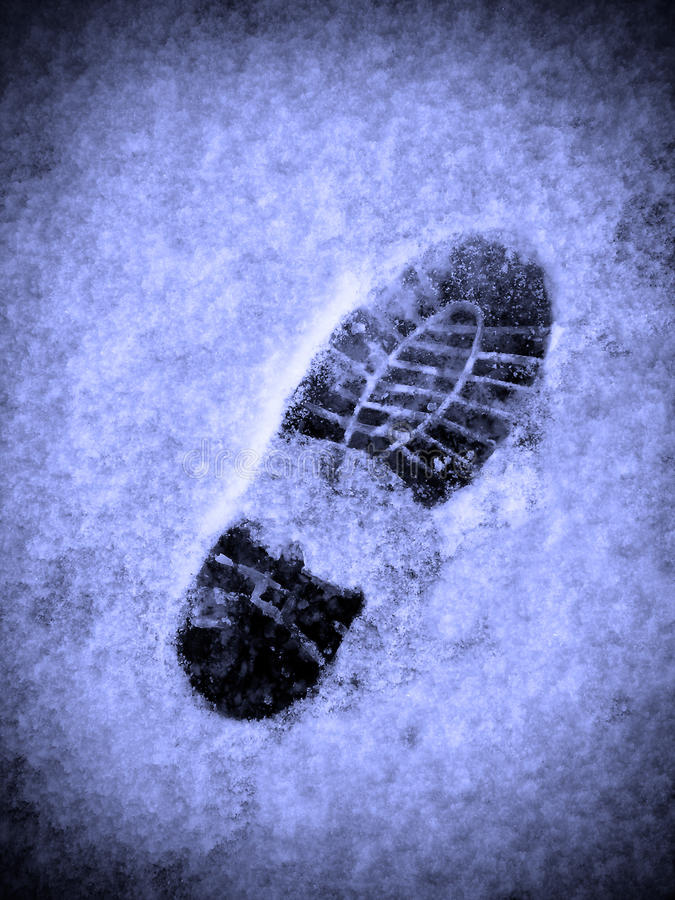 Footprint in the Snow stock image
