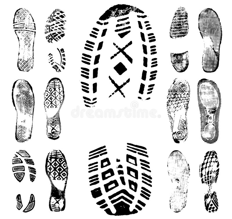 Footprint traces collection 1 royalty free illustration