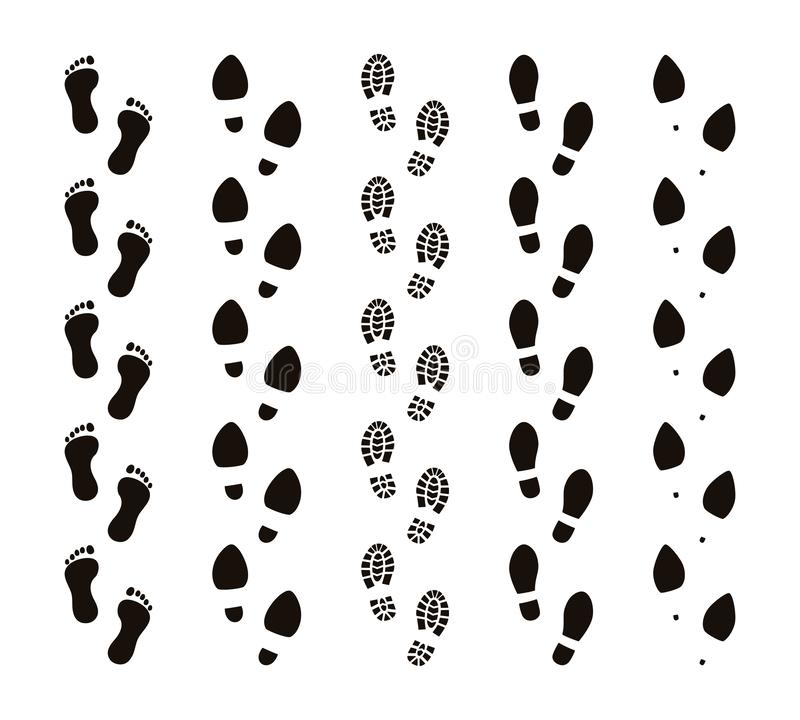 Free Footprint Trails. Bare Feet Human Footsteps, Funny People Foot Steps, Follow Concept, Black Silhouettes. Vector Stock Photography - 143405012