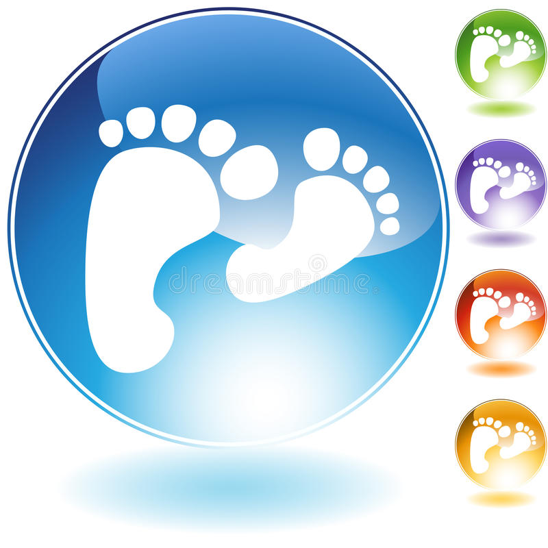 Footprint Walking Crystal Icon royalty free illustration