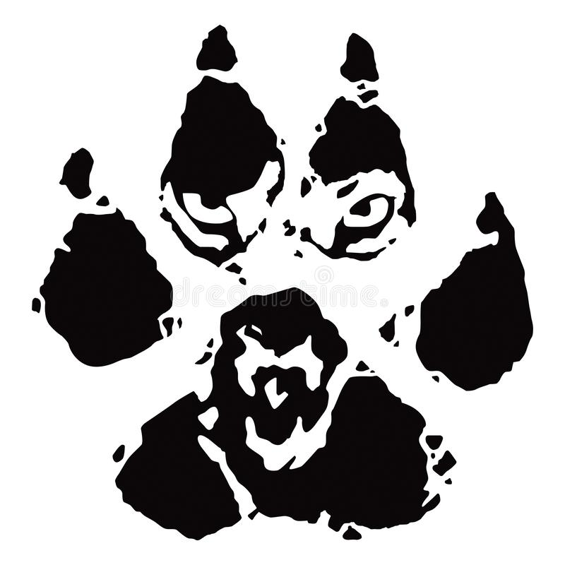 Footprint, wolf paw print. Vector illustration, tattoo, logo vector illustration