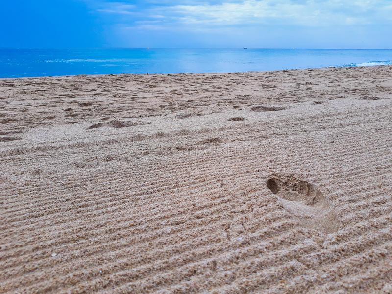 footprints on the beach sand stock image