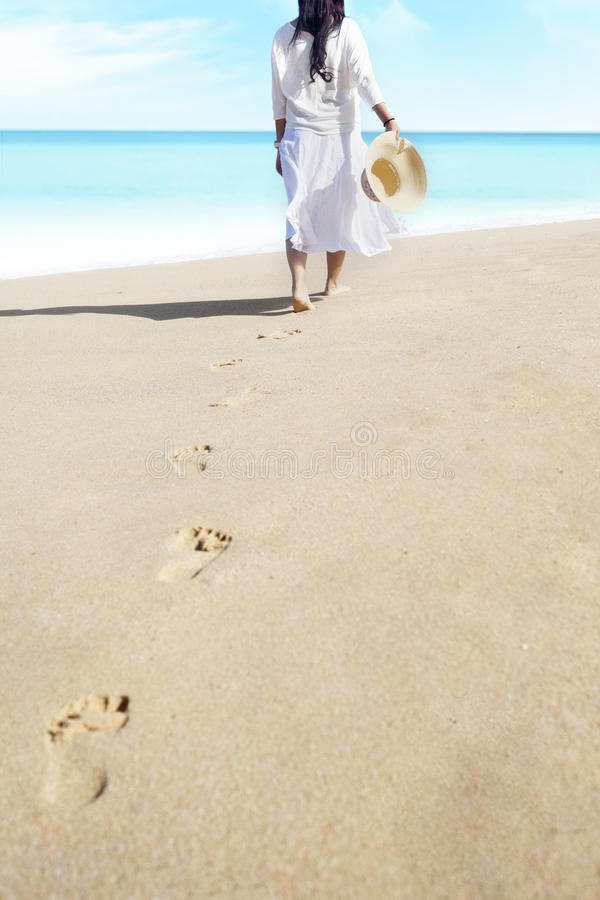 Download Footprints Of Female On Beach Stock Image - Image: 25976285