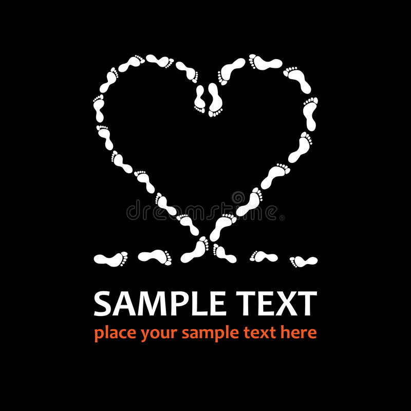 Footprints heart. Heart made with the footprints on black background, t-shirt graphics royalty free illustration