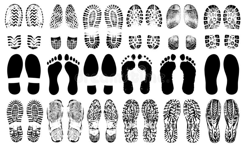 Footprints human shoes silhouette, vector set, isolated on white background. vector illustration