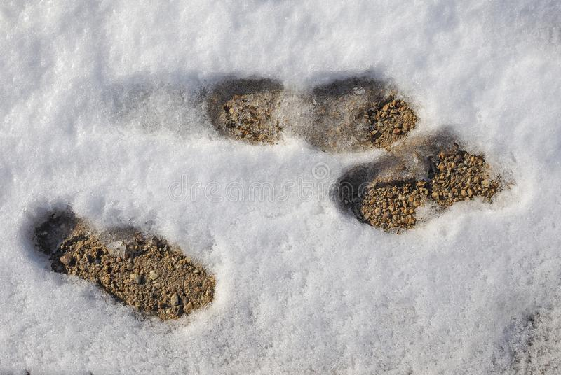 footprints in the snow stock photography