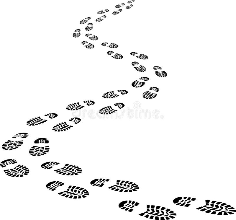 Footprints. Incoming footprints - clip art illustration