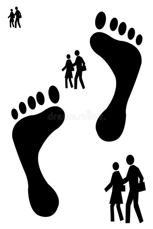 Footprints And People Walking Stock Image