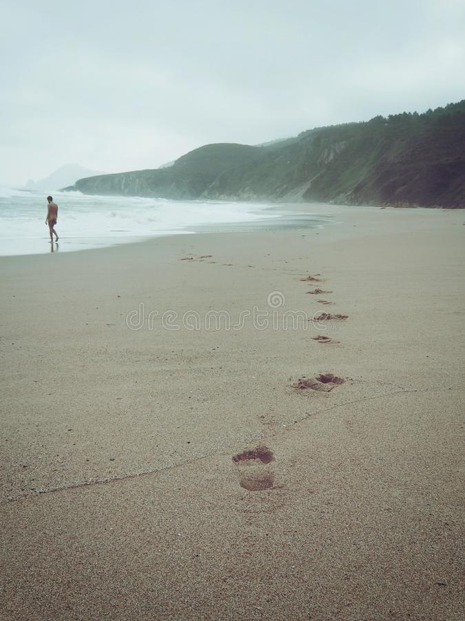 Footprints And Person On Sandy Beach Free Public Domain Cc0 Image
