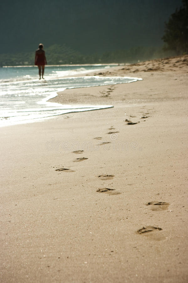 Footprints on sand royalty free stock image