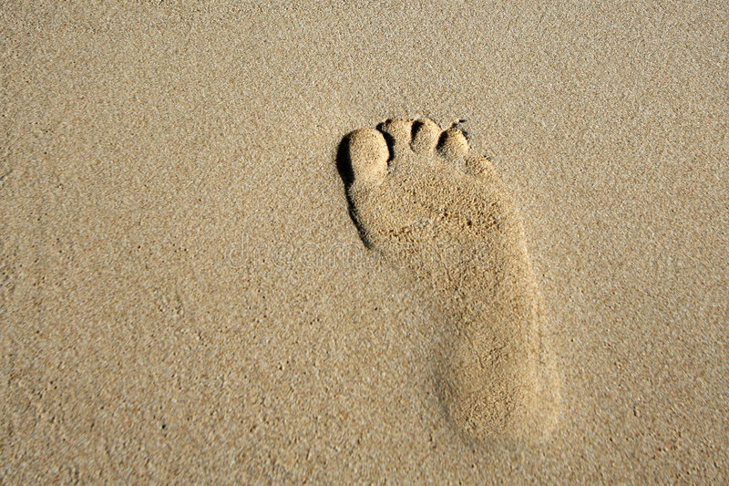 Footprints in the sand royalty free stock photos