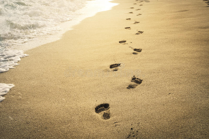 Download Footprints in the sand stock image. Image of nature, middle - 32199053