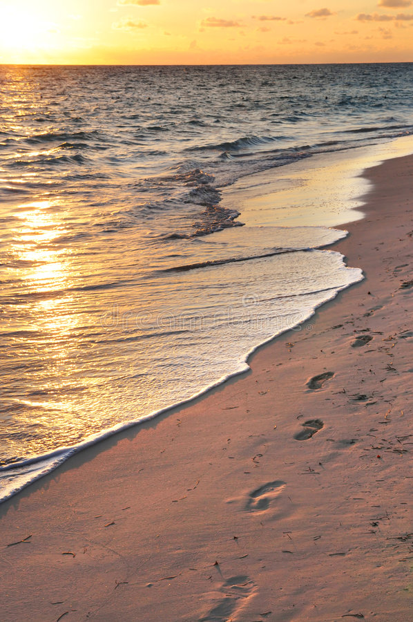 Download Footprints On Sandy Beach At Sunrise Stock Photo - Image: 4885832