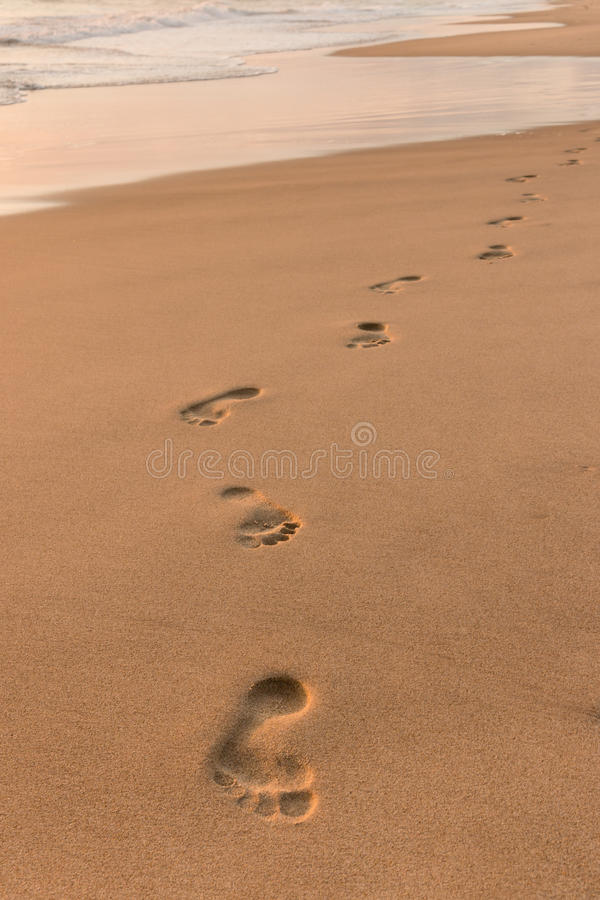 Footprints on sandy beach at sunrise royalty free stock photo