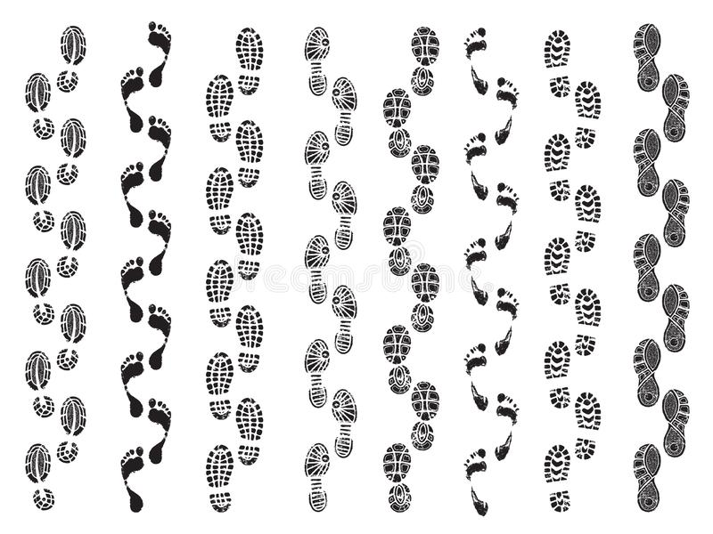 Footprints shapes. Movement direction of human shoes boots walking footprints vector silhouettes vector illustration