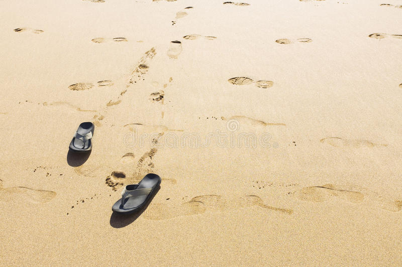 Download Footprints and Shoes stock image. Image of beach, flip - 18986145
