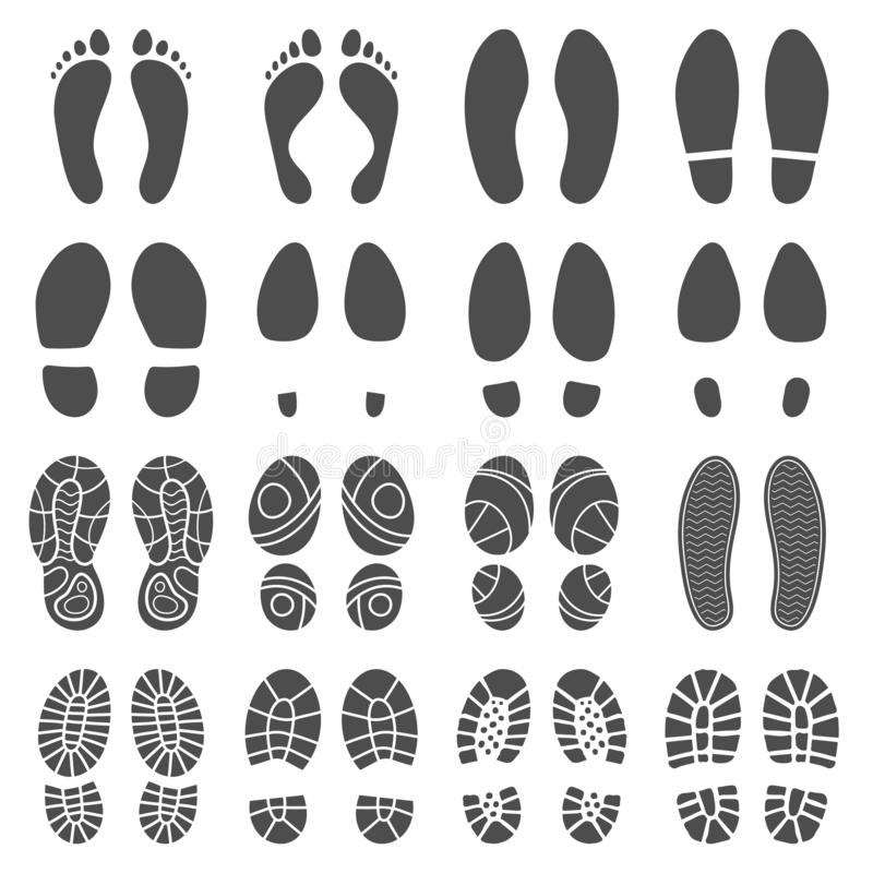 Footprints silhouettes. Barefoot steps prints, boots step and foot feet print isolated vector silhouette illustration royalty free illustration