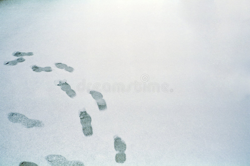 Footprints on the snow. In winter stock photo