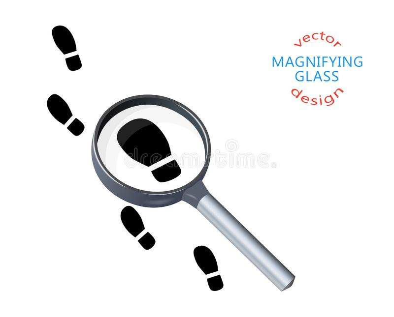 Footprints, soles, footsteps on the trail, magnifying glass, silhouette. Vector illustration of search concept, detective, stock illustration