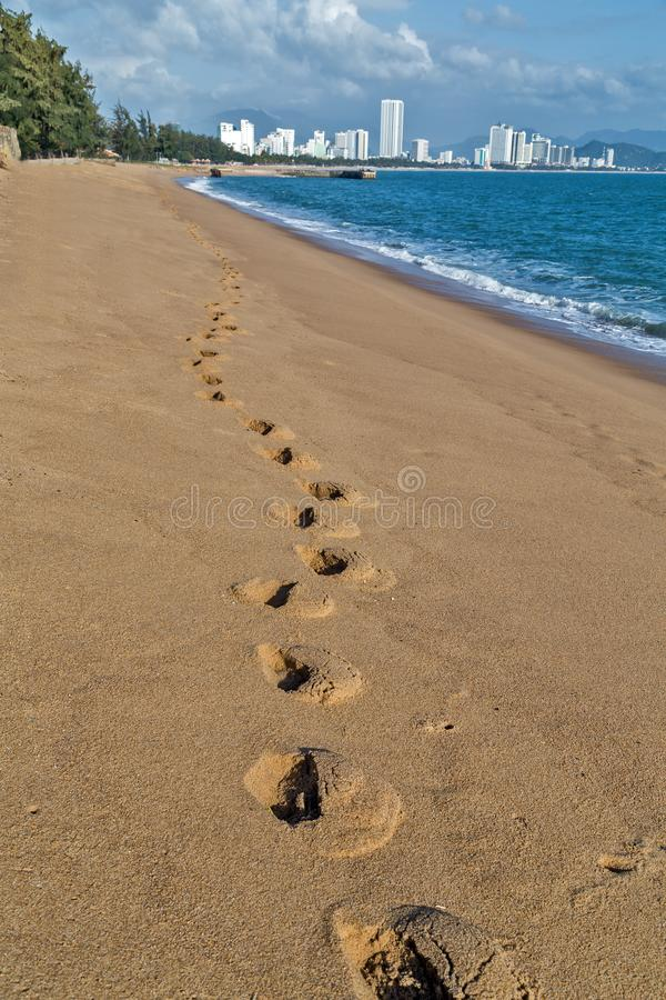 Footprints, steps in the City Sand Beach Nha Trang Bay stock images