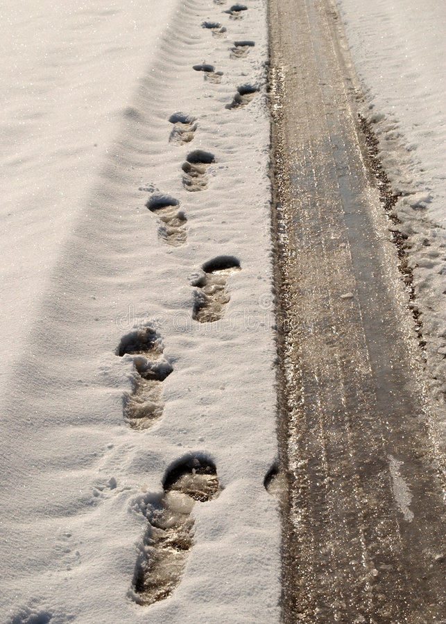Download Footprints and tyre tracks stock photo. Image of freezing - 611102