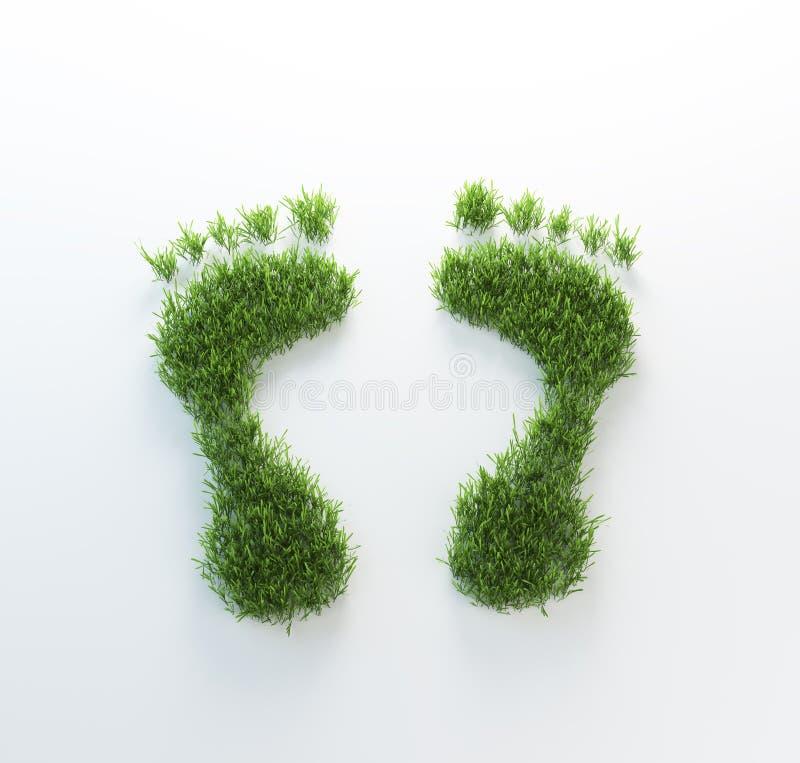 Footrpints de la hierba ilustración del vector