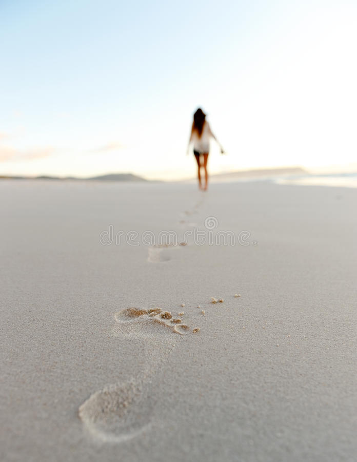 Footstep sand beach stock images