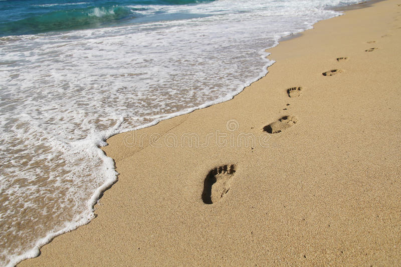 Download Footsteps On A Beach Stock Photo Image Of Landscape