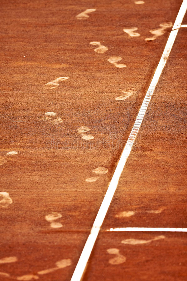 Download Footsteps On A Clay Tennis Court Stock Image - Image: 25937609