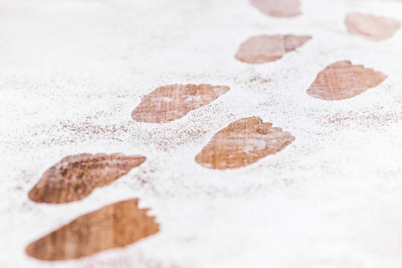 Footsteps or Footprints at icing sugar or artificial snow, concept new baby or Travel. Footsteps or Footprints at icing sugar or artificial snow, concept new stock photography
